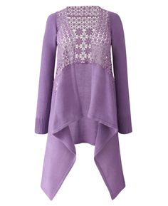 And Abigial Crochet Waterfall Cardigan - Length from 29in - Lilac ...