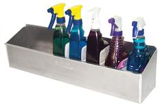 These shelves are large enough to store a variety of spray bottles or cleaners all in one spot for easy access.<br><BR><li>Dimensions: x Van Living, Garage Art, Garage Organization, Spray Bottle, All In One, Shelving, Home Improvement, Purpose, Cleaning