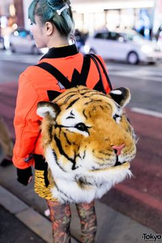 Love the Green Haired Harajuku Girl w/ Jeremy Scott Fashion & Tiger Backpack:  Remember 3500 real tigers left in the wild.