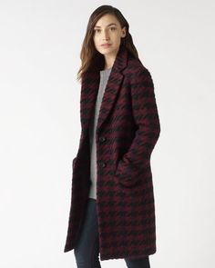Jigsaw expanded dogtooth check coat in a wool-blend with a touch of alpaca and mohair.