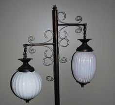 Vintage Nouveau Scrolling Wrought Iron Pole Lamp Floor Lamp Light 2 Globes | eBay