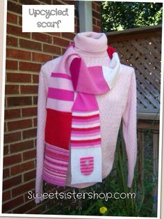 Colorful scarf upcycled from wool and cashmere sweaters.