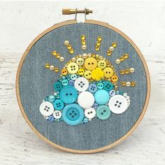 Sunny Day Hoop Art - Embroidery Hoop Art - Button Art Wall Hanging - Nursery Decor - Small Wall Art - Kids' Room Decor - Sun and Clouds Art Embroidery Hoop Crafts, Embroidery Hoop Art, Button Art, Button Crafts, Dressing Room Decor, Art Mur, Cloud Art, Button Picture, Kids Room Wall Art