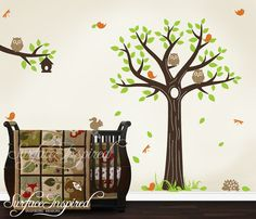 Baby Nursery Wall Decals Nursery Tree Branch With Animal Vinyl Wall Decals - SUR007