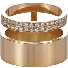 Repossi Women's Berbère Module Midi Cage Ring (14.270 BRL) ❤ liked on Polyvore featuring jewelry, rings, no color, polish jewelry, 18k ring, repossi, pave jewelry and caged jewelry