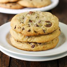 XXL Soft Baked Chocolate Chip Cookies  - super thick and soft chocolate chip cookies as big as saucers & stuffed full of chocolatey goodness