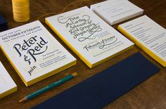 Work of Nashville-based Perky Bros. Wed­ding invi­ta­tion suite cre­ated for friends Peter and Reid. The pieces fea­ture a fresh navy and yel­low color palette, gor­geous hand-lettering and let­ter­press print­ing by Rohner Letterpress.