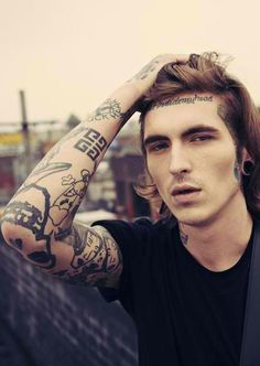 hot guys with tattoos  | guys with tattoos guys and ink long hair face tattoo plugs