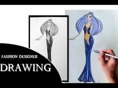 Dessin de Mode robe Haute Couture ❤ Draw Chiffon Dress ❤ Dibujar Moda vestido - YouTube
