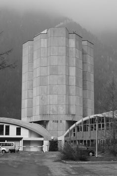 al-ta:  Brutalism in Chamonix, France.  Library, Roger Taillibert, 1970s. View this on the map