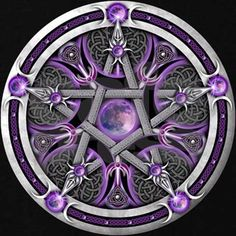 Pentacle of the Purple Moon Silver pagan pentacle featuring a purple-tinted moon, triple goddess symbols, crescents and celtic knotwork. Just gorgeous with the moon and the combination of purple and grey. Tarot, Magia Elemental, Pagan Art, Triple Goddess, Magic Circle, Celtic Art, All Things Purple, Book Of Shadows, Witchcraft