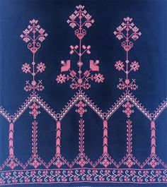 Border Embroidery Designs, Embroidery Suits Design, Embroidery Works, Embroidery Patterns, Machine Embroidery, Cross Stitch Borders, Cross Stitch Rose, Cross Stitch Designs, Cross Stitching