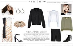 Tibi Tatersol Jacket: For an original evening look, drape over a graphic Phillip Lim dress, with Tibi Edita heels, Alexander McQueen clutch, and Balmain earrings. For a tailored lunch meeting look, wear with Tibi tatersol bermuda short, white shirting, Current/Elliott olive knit, and lace up Pierre Hardy flats.