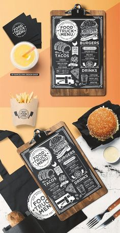 Creative blackboard menu template for your street food business with graphic food illustrations – fries, burger, pizza, tacos, drinks. Menue Design, Food Menu Design, Food Truck Design, Restaurant Menu Design, Restaurant Identity, Pizza Menu Design, Restaurant Restaurant, Street Food Business, Food Truck Business