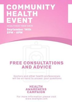 A promotional poster template. A pink header with white text displaying community health event.