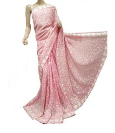 Pink Pure Handloom Georgette Parsi Gara---------A very famous example of embroidery is the Parsi embroidery sarees also called as Grara embroidery sarees. Parsi embroidery sarees have been renowned since last bygone centuries for its striking beauty and also demonstrates a cultural Parsi tradition of embroidery and ethos.----------Parsee Gara from luxurionworld.com