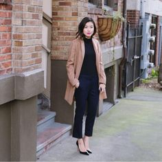 Click the photo to shop the look | Carolyn of the Hey Pretty Thing blog wearing a Asos jacket, J.Crew black crop pants, and black Christian Louboutins |  Follow @liketoknowit on Pinterest for more outfit inspiration #liketkit