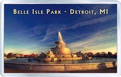 $3.29 - Acrylic Fridge Magnet: United States. Michigan. Scott Fountain Belle Isle Park Detroit
