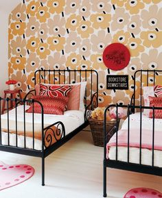 awesome shared girls room with marimekko wallpaper and iron twin beds. Ikea Minnen Bed, Ikea Beds, Kura Bed, Girls Bedroom, Bedroom Decor, Bedroom Ideas, Modern Bedroom, Bedroom Bed, Bedroom Lighting