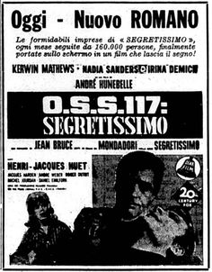 """OSS 117 segretissimo"" (OSS 117 se déchaîne, 1963) di Kerwin Mathews e Nadia Sanders. Italian release: September 7, 1963 #MoviePosters #SpyStory #OSS117"