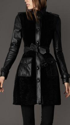 26f9afe107d5 Burberry Sherling leather coat Sherling Coat