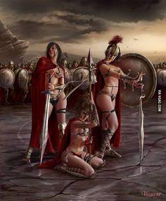 Bellona (goddess of war), Minerva (goddess of wisdom and war) and Nerio (warrior goddess and personification of valor) Minerva Goddess, Spartan Women, 300 Movie, Spartan Warrior, Fantasy Art Women, Female Soldier, Fantasy Warrior, Art Pages, Girl Cartoon
