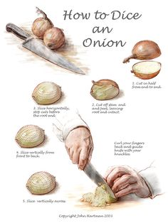How to Dice an Onion. I do this. It really works. This is what they teach us in the culinary program.