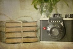 old camera + old books