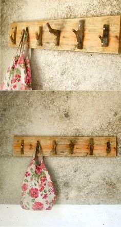 Coat hanger made from recycled wood and tree branches. Nice rustic look, perfect. Coat hanger made from recycled wood and tree branches. Nice rustic look, perfect for a cabin. Twig Furniture, Handmade Furniture, Nachhaltiges Design, Cabin Design, Wood Design, Coat Hanger, Coat Racks, Recycled Wood, Tree Branches