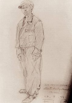 """Drawing by Félix Lazare Bertrand entitled """"Un petit Letton. Albert Martzenkenech, 12 ans"""" (""""A little Latvian. Albert Martzenkenech, 12 years old""""), 1944/45. A transport from the Salaspis police custody camp in Latvia in 1944 brought many young people to Neuengamme concentration camp. Prisoners at Neuengamme organised school classes for some of them."""