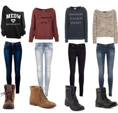 I need the black skinny jeans and the sweatshirt that is written on midnight snacker expert and the othe one that is written on meow something