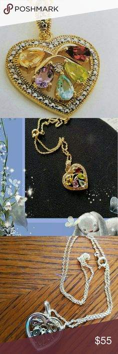 Genuine Gemstone & Diamond Heart Genuine Gemstone and Diamond heart necklace in 18k gold plated.  Absolutely stunning,  yellow gold,  genuine Amethyst,  blue topaz, citrine, garnet and peridot. 18in chain. Jewelry Necklaces