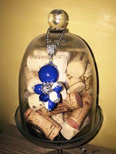 Handmade nacklace grappolo di ceramica e bottone sardo