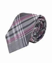 Pink & Gray City Plaid Pattern Skinny Tie