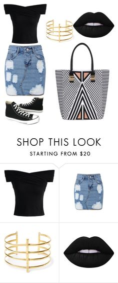 """Untitled #198"" by karenrodriguez-iv on Polyvore featuring Chicwish, BauXo, Lime Crime and Converse"