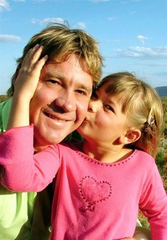 """Bindi & Steve Irwin.  He was an Australian tv personality with worldwide fame as """"Crocodile Hunter"""", wildlife expert and conservationist.  Steve grew up at his parents wildlife park which is now Australian Zoo.  Married Terri in 1991 and 2 children and had an ultimely death in 2006 when pierced in chest by stingray barb."""