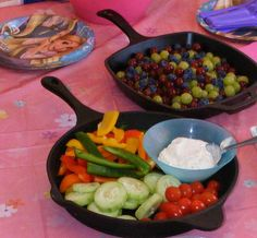 Iron skillets to serve party food for Tangled Birthday party!