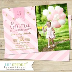 Pink and Gold Glitter Girls Birthday by lilsproutgreetings on Etsy ~ Purchase the digital file option and print your own invitations!