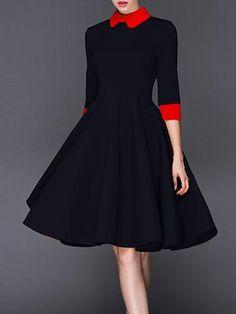 Women Dress Doll collar 3/4 Sleeve Party A-line Black Short Dresses Slim New Autumn And Winter Elegant Fashion Vintage