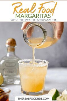 Your favorite summertime cocktail gets a healthy makeover in these Real Food Margaritas (read: bye-bye sugary mixers! Good Healthy Recipes, Real Food Recipes, Drink Recipes, Healthy Alcoholic Drinks, Citrus Fruits, Sweet Tarts, Bye Bye, Mixers, Cocktail Recipes