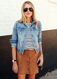 Street Style Suede Skirt Striped T-Shirt