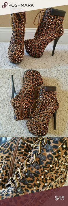 Leopard/ Cheetah Print Gold Spiked Heels Leopard or Cheetah Print high heel booties. They are super tall and have gold studs and lace up the front with a side zipper. Brand new never worn. So cute! Goth Punk Rocker Breckelles Shoes