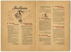 "World War II ~  ""Helping the Homemaker Make the Most Out of the Food She Can Get"" issue (#3). Opening with a side-by-side ""Peacetime Menu"" and ""Wartime Menu"" for Thanksgiving dinner, one sees that by substituting fruit cocktail for crab cocktail, mashed sweet potatoes for mashed potatoes, and roast pork for roast turkey one could have a ""very satisfactory meal and…help the government food program by using the foods most available.""  That's not so bad, right?"