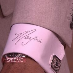 From Steve Harvey: Helping some guys on the show today rehab their romance. Here's something I do... I get my wife's name inscribed on the cuff of my shirts. Then whenever I check the time on my watch throughout the day, I think of her, the love of my life @marjorie_harvey