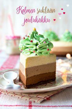 Kolmen suklaan kakku ansaitsee paikkansa Kinuskikissan kakkujen joukossa. Suklaa jos jokin sopii joulun odotukseen, joten tästä on hyvä tassutella kohti leivontavuoden huipennusta!