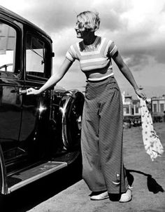 1930s Striped t-shirt & wide-legged trousers. http://www.etsy.com/shop/VintagePennyLane  https://www.facebook.com/VintagePennyLane