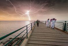 Kuwait - Lightning and sunset