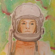 Lady Astronaut - Original Watercolor Illustration