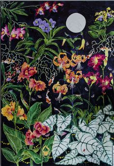 Midnight in the Garden of my Imagination  by Gabby MALPAS | PLATFORMstore | Watercolour, Ink and Gouache on Canvas