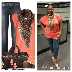 Skinny jeans, coral shirt, scarf, coral pumps and coral with silver earrings.